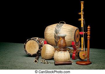 jogo, tradicional, Tailandês, musical, Instrumentos