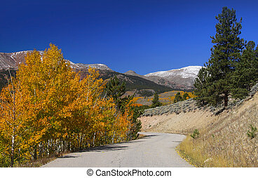 Scenic drive - Scenic mountain road in Colorado near Twin...