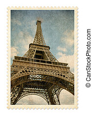Paris Eiffel tower vintage postage stamp isolated with...
