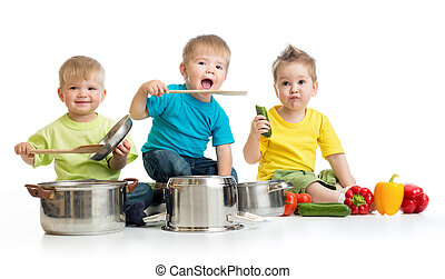 Kids group cooking isolated on white Three boys are playing...