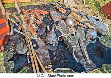 Set of historical slavic weapons and armors - HDR photo