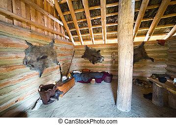 Inside of hunter's hut