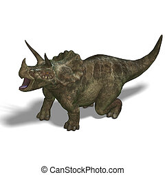Dinosaur Triceratops 3D render with clipping path and shadow...