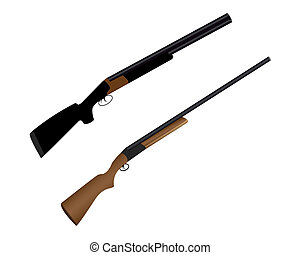 two guns for hunting wild animals on a white background