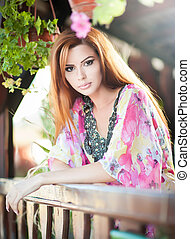 Beautiful redhead outdoor - Beautiful female portrait with...