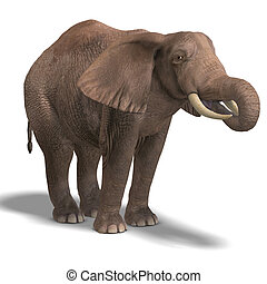 huge elephant - giant elephant 3D render with clipping path...