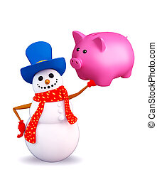 Snowman character with piggy bank - Illustration of snowman...