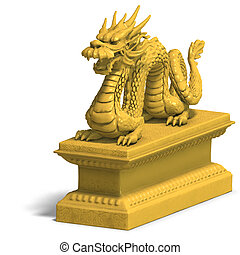 golden chinese dragon statue - a golden dragon with a ball...