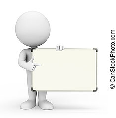 White character with display board - Illustration of white...