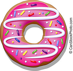Doughnut - Donut with pink icing on a white background EPS...