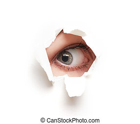 Eye looking through hole in white empty paper poster - Eye...