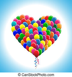 balloons in heart shape colorful vector