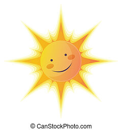 Cartoon Sun - Cartoon illustration of a sun with a smile...