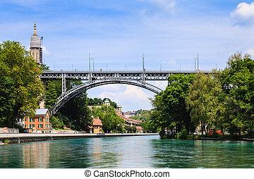 ponte,  metal, através, Berna, Suíça, Rio,  aare