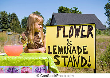Lemonade Stand - Little girl attending her lemonade stand.