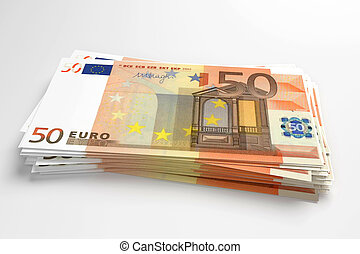 pile of euros - pile of 50 euros banknotes design in 3d