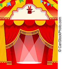 Show poster - Festive background with tent of vagrant circus...