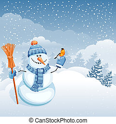 Cute snowman - Christmas greeting card with cute snowman on...
