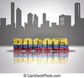 View of Bogota - Word Bogota with National Flag of Colombia...