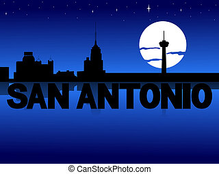 San Antonio skyline reflected with text and moon...