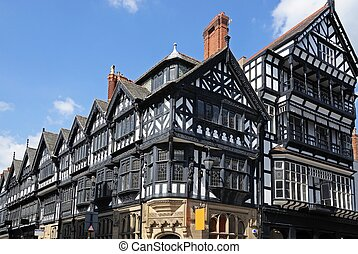 Tudor buildings, Chester. - Tudor buildings on the corner of...