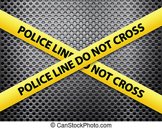 police line metal background - Yellow police line tape on a...