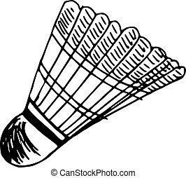 shuttlecock - hand drawn illustration of shuttlecocks,...