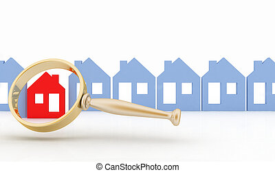 Magnifying glass and row of houses - Magnifying glass...