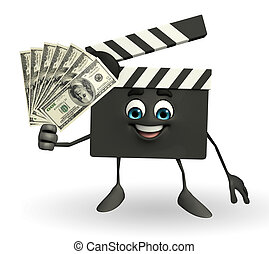 Clapper Board Character with dollars - Cartoon Character of...