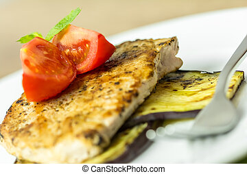 Grilled Egg Plant Slice With Pork Steak And Sliced Tomatoes