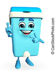Dustbin Character with victory sign - Cartoon Character of...