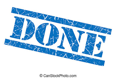 done blue grungy stamp isolated on white background