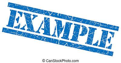 exemplo, azul, grungy, selo, isolado, branca, fundo