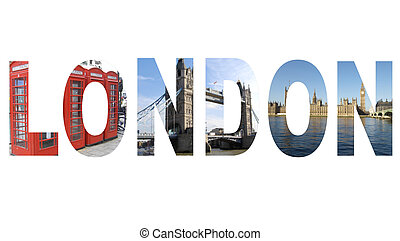 London text written with pictures of landmarks all pictures...