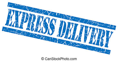 express delivery blue grungy stamp isolated on white background