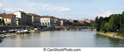 River Po, Turin - View of River Po in Turin, Italy