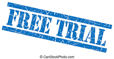 free trial blue grungy stamp isolated on white background