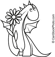 Coloring book: Cute little dragon holding flower