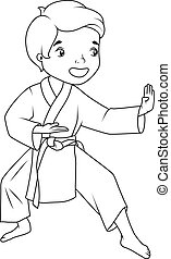 Coloring book: Little boy wearing kimono practicing karate