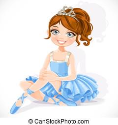 Beautiful ballerina girl in blue dress and tiara sit on...