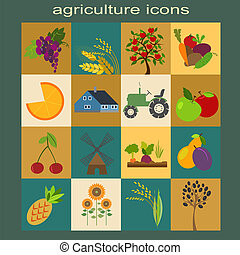 Set agriculture, farming icons
