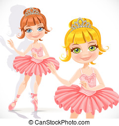 Beautiful little ballerina girl in pink dress and tiara...