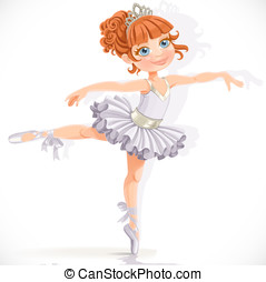 Beautiful little ballerina girl in white dress isolated on a...