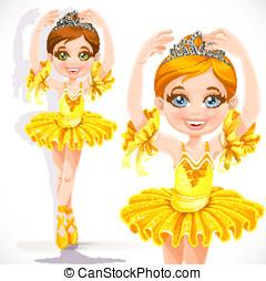 Beautiful little ballerina girl in yellow dress and tiara...