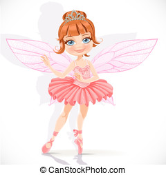 Beautiful little fairy girl in pink dress and tiara isolated on a white background