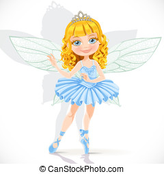 Beautiful little fairy girl in tiara and blue dress isolated...