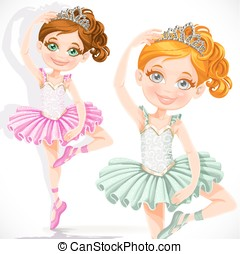 Cute little ballerina girl in pink and green tutu and tiara isolated on a white background