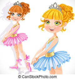 Cute little ballerina girl in tiara isolated on a white...
