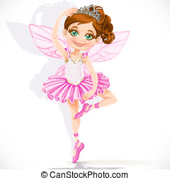 Cute little fairy girl in pink tutu and tiara isolated on a...