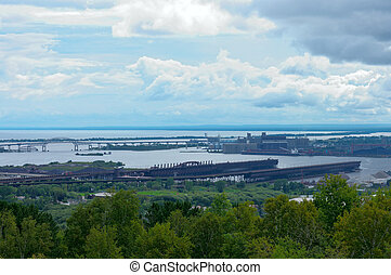 Ore Docks and Harbor in Duluth - Aerial of ore docks and...